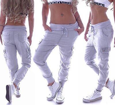 Cargohose Damen Cargo Jeans Hose Boyfriend Baggy Aladin Taschen Grau G15 Damen Baggy Jeans