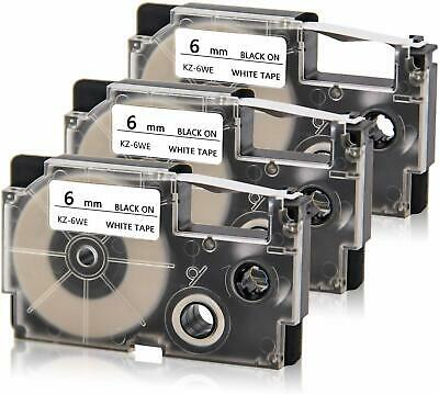 3 Pk Xr-6we Xr-6we2s Compatible For Casio Label Tape Black On White 6mm X 8m