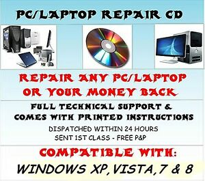 REPAIR LAPTOP & PC CD BOOT RESTORE RECOVERY PRO DISC FOR WINDOWS 7 - VISTA - XP