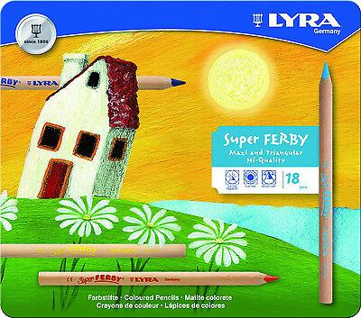 18 Lyra Super Ferby Stifte natur Farbstift Buntstifte dicke Malstifte Metalletui