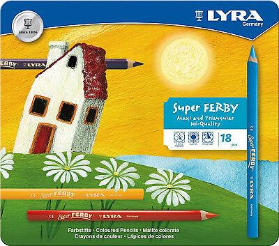 18 Lyra Super Ferby Stifte Farbstifte Buntstifte dicke Malstifte tri Metalletui