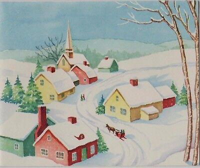 VTG 1940'S SNOWY CHRISTMAS VILLAGE CHURCH SCENE GREETING CARD