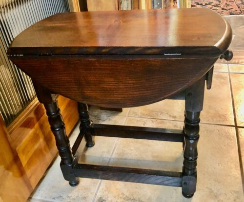 small Drop leaf oak End Table / Side Table drawer