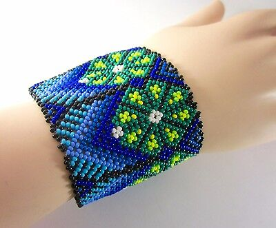 "HUICHOL BEADED BRACELET 2.25""W Boho Cuff Mexican Folk Art Peyote Ethnic Jewelry"