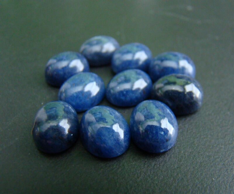 Aventurine Dyed Blue Oval Cabochon 10x8mm lot 10 pieces 26 Carats