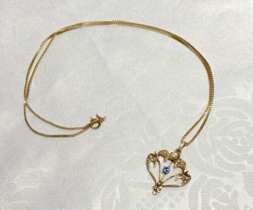 10k Yellow Gold Victorian Seed Pearl Sapphire Stone Lavalier Pendant Necklace