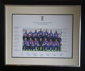 Signed England 2007 ODI Cricket Photo Framed Kevin Pietersen Andrew Flintoff
