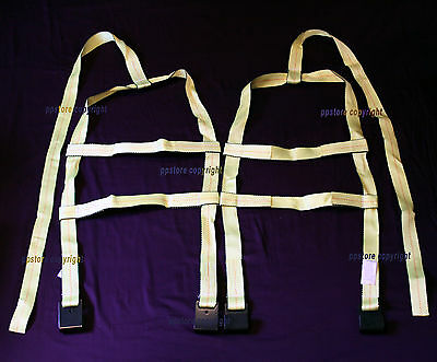 Two (2x) Demco Car Basket Straps Adjustable Tow Dolly Wheel Net Tire Flat Hooks
