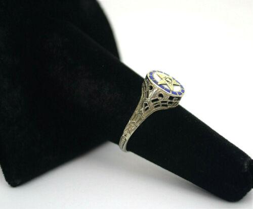#9488-  Antq 10k White Gold Eastern Star Filigree & Enamel Ring Size 6