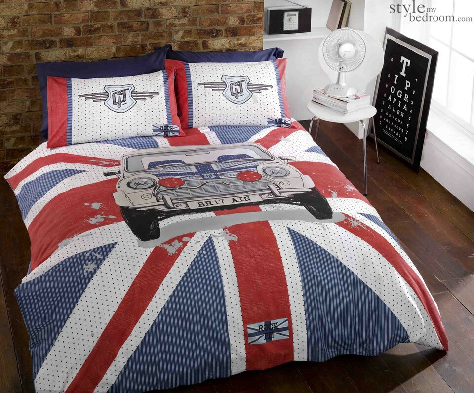 UNION JACK & Cassic MINI Cooper GT Duvet Quilt Cover Bedding Set Pillowcases
