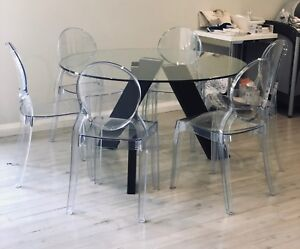 KING Living Dining Table and Domayne Ghost Chairs x6