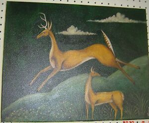 Original-FOLK-ART-Painting-Oil-DEER-Stan-Wallace-Nature-ANIMAL-Primitive