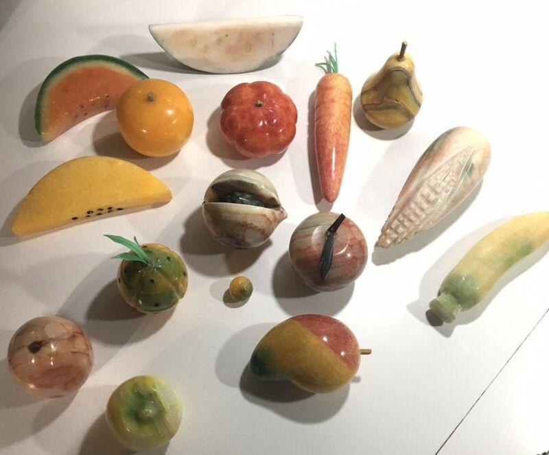 Lot of 15 Vintage Alabaster Marble & Stone Fruit & Vegetables