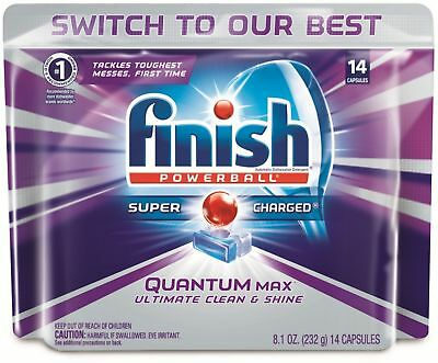 Finish Quantum Max Powerball,Dishwasher Detergent Tablets, Clean - Shine 14 ct