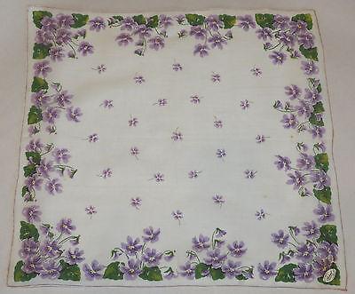 Vtg BURMEL Hanky Handkerchief ~ White with Purple Violet Flowers ~ Original Tag