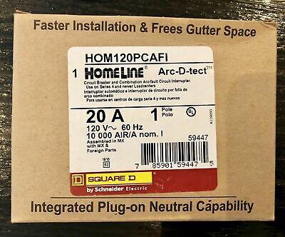 Hom120pcafi Square D Breaker 20 Amps 120 Volts 1 Pole Arc-fault Breaker New