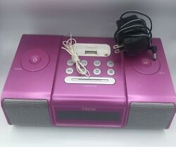 iHome (iH9) Pink Ipod Speaker Dock Dual Alarm Clock Radio Apple iPod Tested
