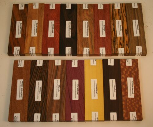 15 Different Exotic Wood Bookmatched Knife Scales Bocote, African Blackwood K-15