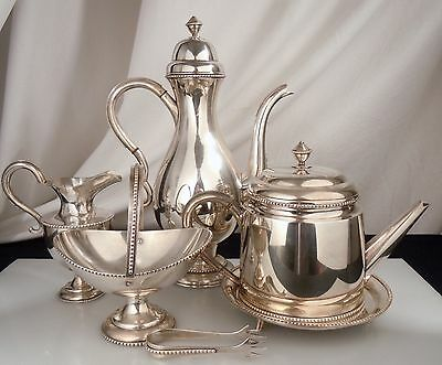 Japanese 950 Sterling Silver Tea & Coffee Pot Set 2200g -Teapot, Sugar-not scrap