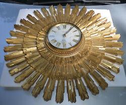Vintage Retro Mid Century Syroco Starburst Sunburst Wall Clock