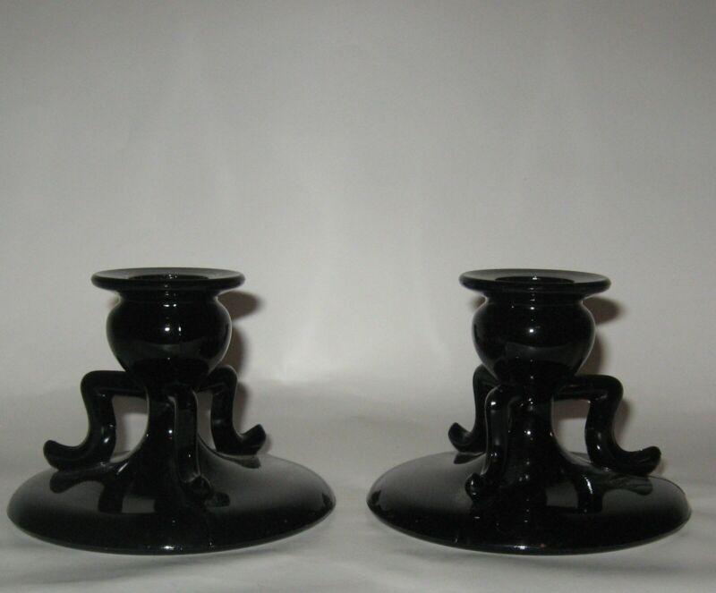 Vintage Black 3 Armed Low Candle Holders Pair