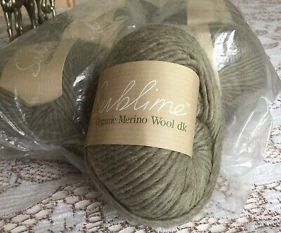Sublime 10 x 50g balls of Organic Merino Wool DK in soft green