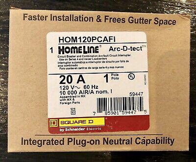 New Hom120pcafi Square D Breaker 20 Amps 120 Volts 1 Pole Arc-fault Breaker