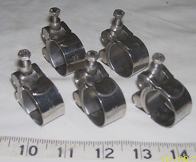 lot of 5 All Stainless Steel 1 116 1 532 27 29mm  Bolt Hose Clamps