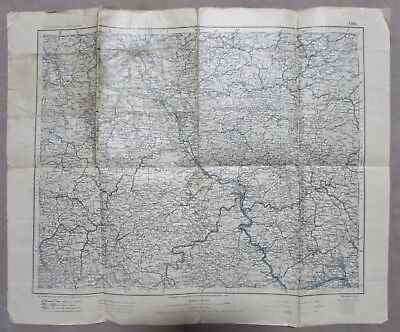 ORIGINAL Pre WW1 Vintage 1909 MAP of COLOGNE / KOBLENZ / WIESBADEN GERMANY AREA