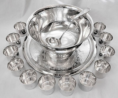 STUNNING! 15pc Vtg INTERNATIONAL SLV CO Slv Plate 4Qt Punch Bowl~Cups~Ladle~Tray