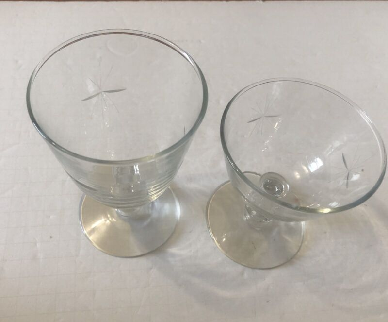 Libbey Glass Clear Cut Starglow 1 Water Wine Goblet & 1 Champagne/Tall Sherbet