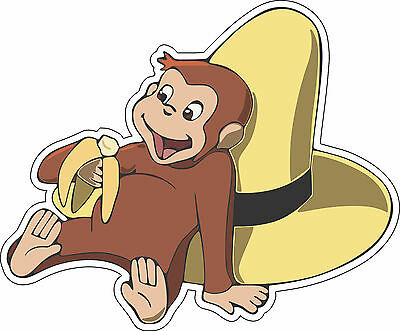 Curious George Wall Decor - Curious George yellow hat wall decor bumper sticker vinyl decal, 5