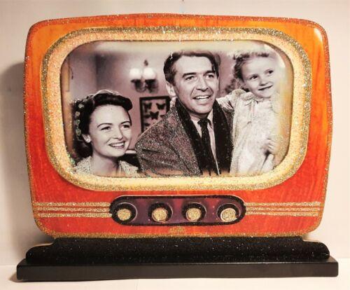 STAND ~ RETRO TELEVISION - WONDERFUL LIFE  * Glitter WOOD CHRISTMAS DECORATION
