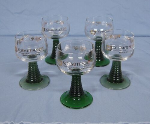 Schmitt Sohne Green Ribbed Stem Cordial German Wine Glasses, 0.1 L, set of 5
