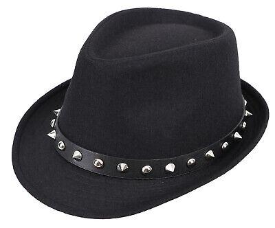 - Unisex Black Thick Wide Brim Studded Fedora Hat