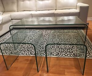 3 piece glass tables - 1 coffee table and 2 side tables