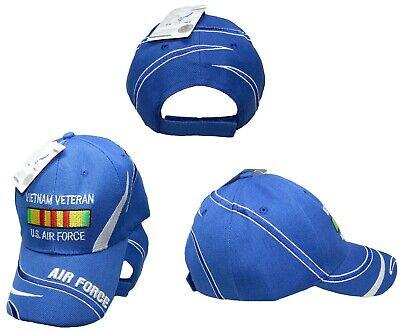 U.S. Air Force Vietnam Vet Veteran Ribbon Royal Blue Embroidered Ball Cap Hat