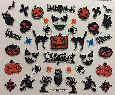 Nail Art 3D Decal Stickers Halloween Scary Face Witch Black Cat Owl Skull YGA141](Halloween Cat Nail Art)