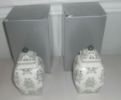 Set of (2) Damask Illuminated Pierced porcelain Ginger Jar Urns by Valerie GREEN