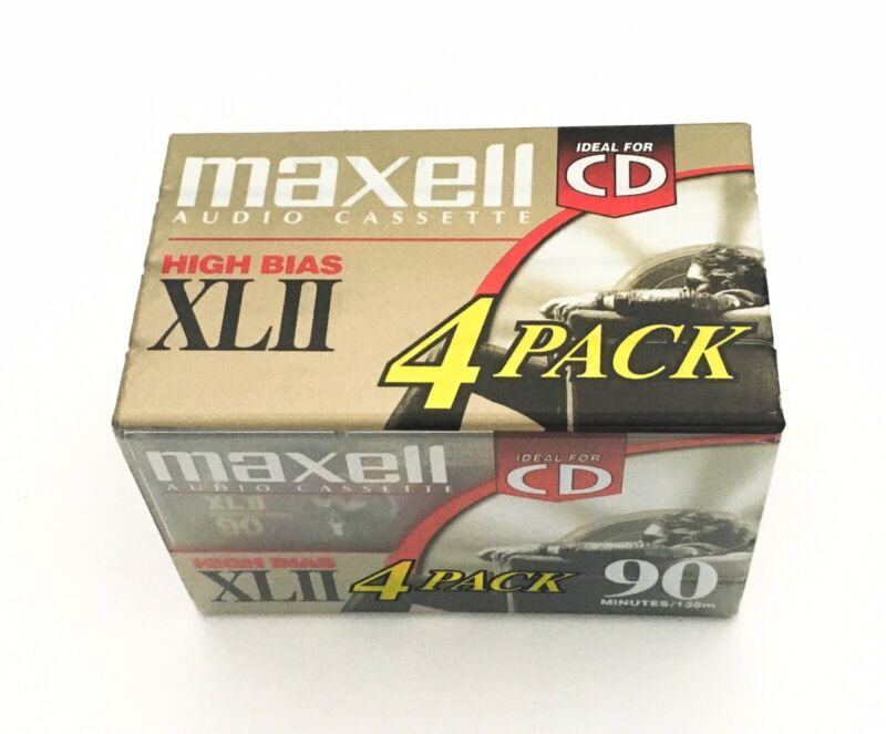 NEW Sealed 4 Pack Maxell XLII 90 Blank Cassette Tapes