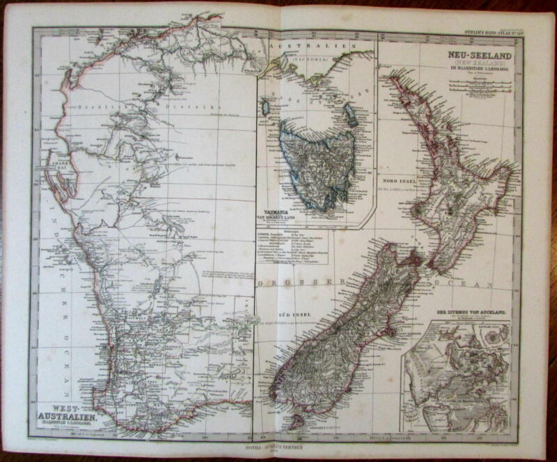 West coast Australia Tasmania New Zealand Auckland isthmus 1866 Stieler old map