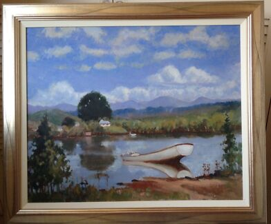 Original oil painting.  Peaceful river scene. St Ives Chase Ku-ring-gai Area Preview