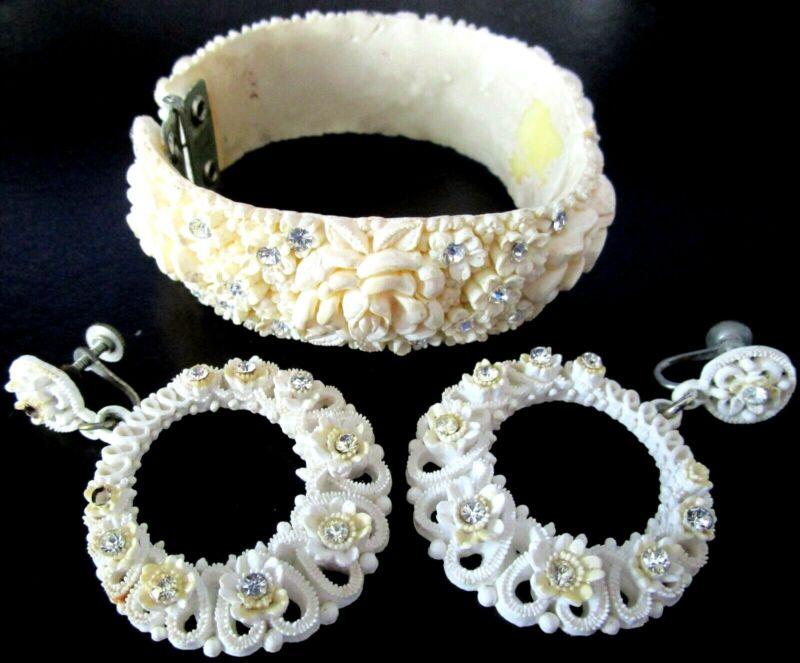 Feather Lite Floral Celluloid & Rhinestone Vintage Clamper Bracelet Earring Set