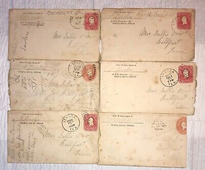 6 Itasca, Hill County, Texas Handwritten Letters, 1903 & 1904, With Envelopes,