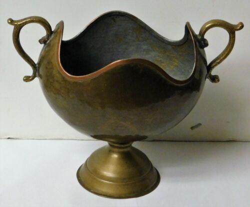 """Vintage Russian brass vessel, imperial mark, 8"""" wide, 7"""" wide"""