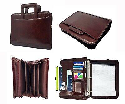 Leatherette 3 Ring Binder Folder Portfolio Organizer Planner Briefcase Handle