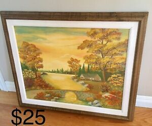 Landscape painting and frame