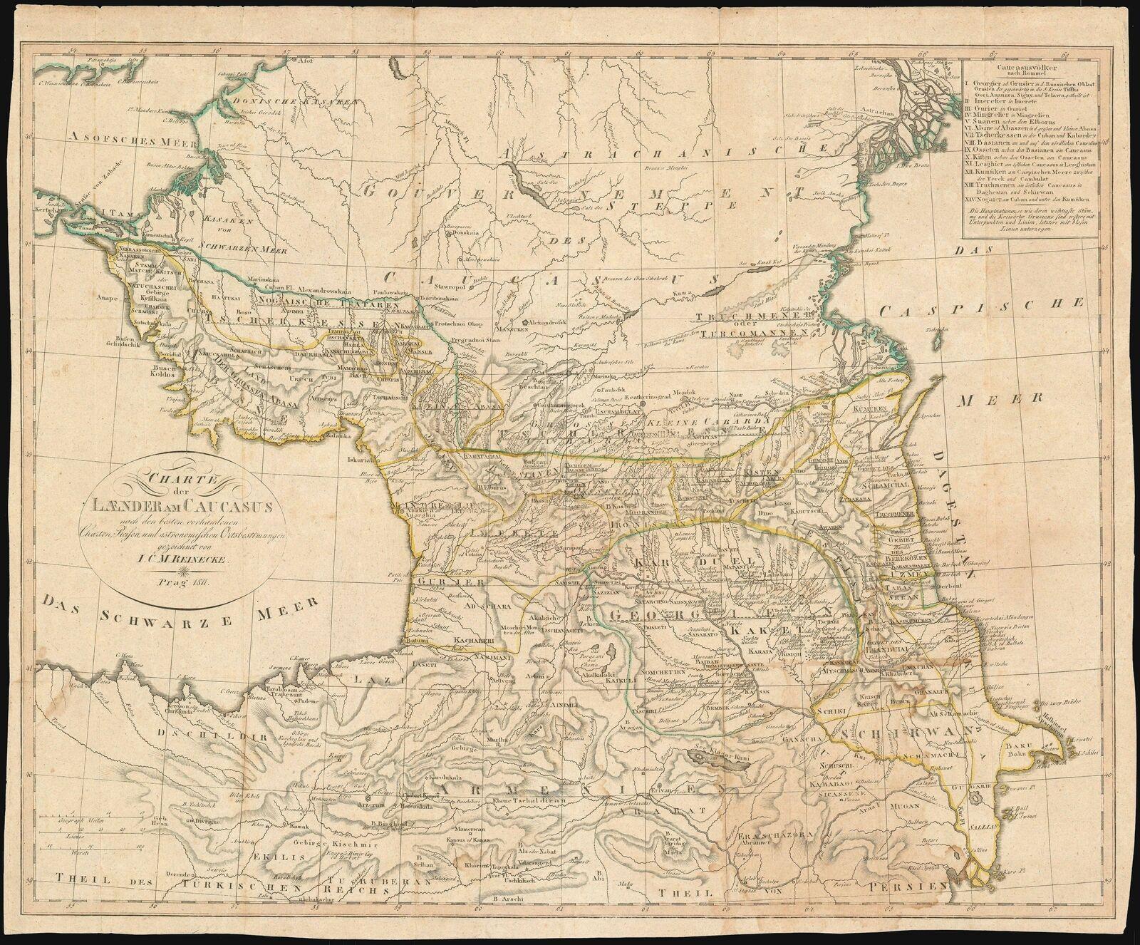 1811 Reinecke Map of the Caucasus Armenia and Georgia