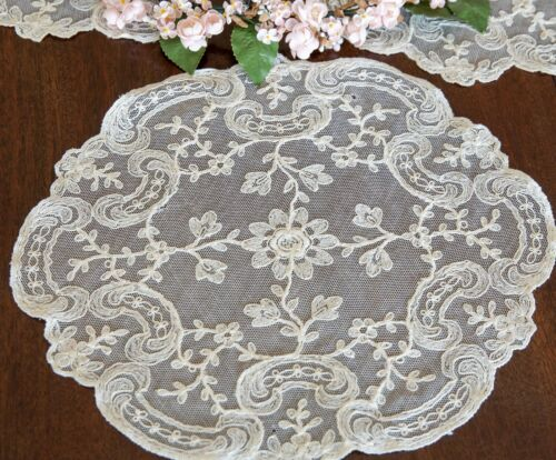 Set of 3  - Fine Antique  French Net Lace Doilies