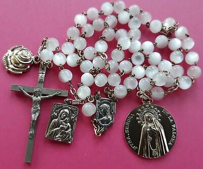 ANTIQUE Catholic WHITE glass ROSARY Our Lady of DOVE, scapular, Rose St. TERESA